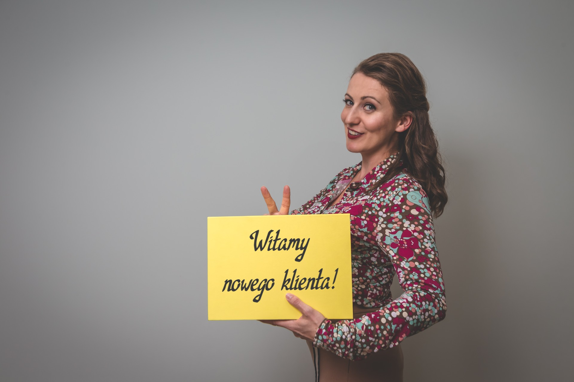 Magda Górak wita nowego klienta